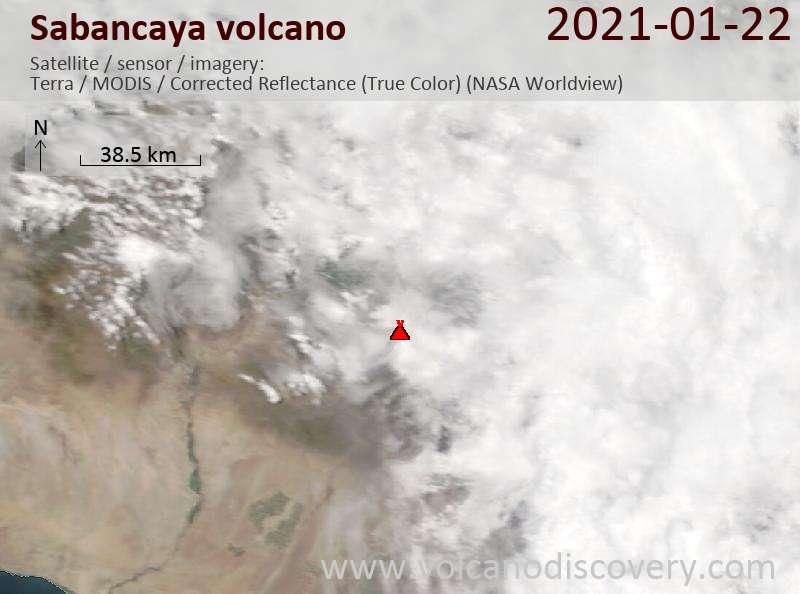 Satellitenbild des Sabancaya Vulkans am 22 Jan 2021