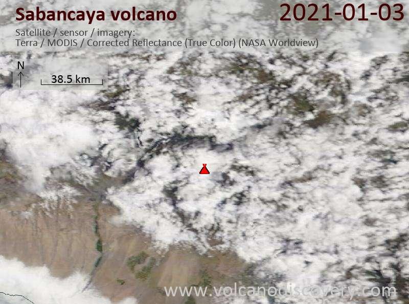Satellite image of Sabancaya volcano on  3 Jan 2021