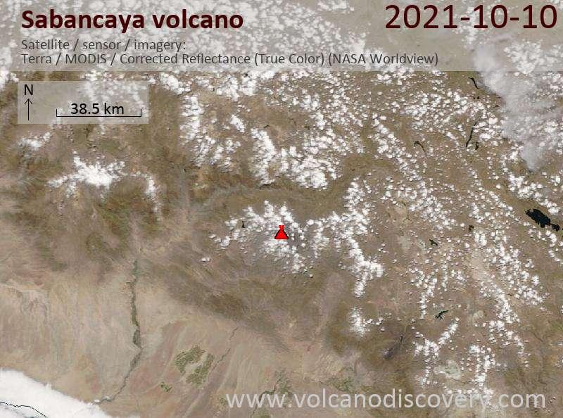 Satellite image of Sabancaya volcano on 10 Oct 2021