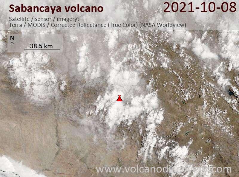 Satellite image of Sabancaya volcano on  9 Oct 2021