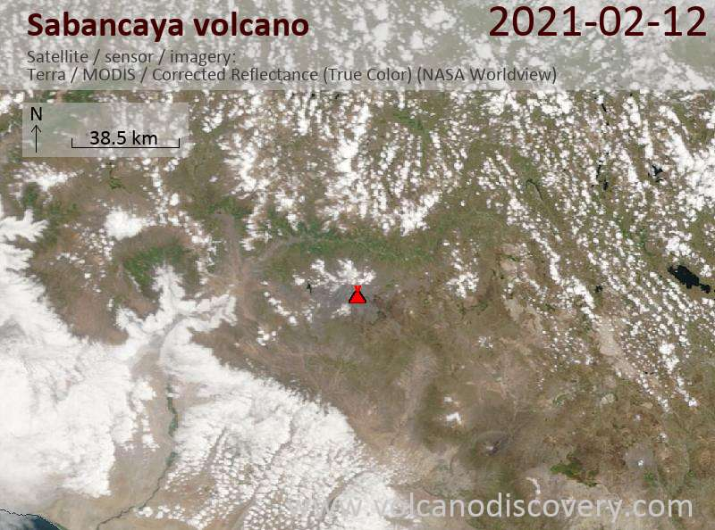 Satellitenbild des Sabancaya Vulkans am 12 Feb 2021