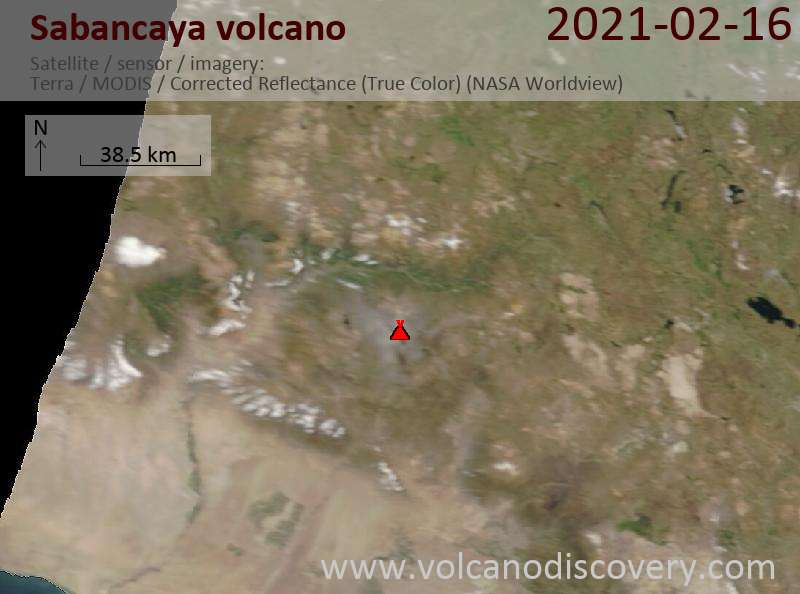 Satellite image of Sabancaya volcano on 16 Feb 2021