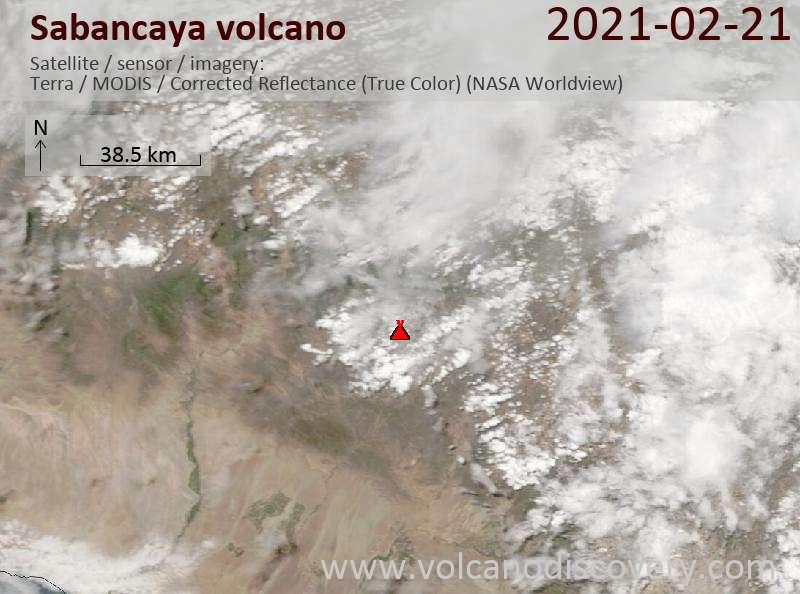 Satellite image of Sabancaya volcano on 21 Feb 2021