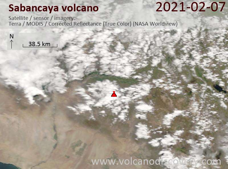 Satellite image of Sabancaya volcano on  8 Feb 2021