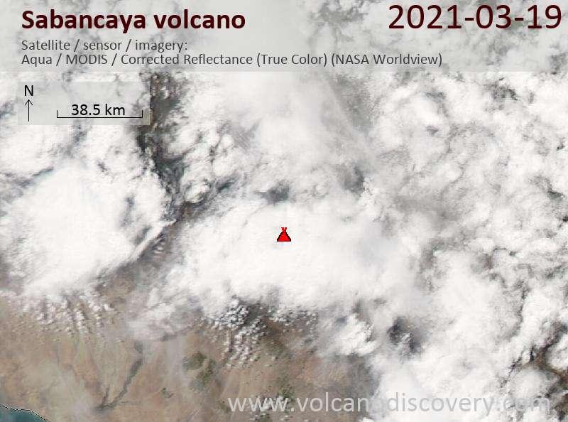 Satellite image of Sabancaya volcano on 20 Mar 2021
