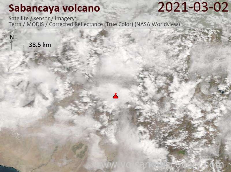 Satellite image of Sabancaya volcano on  3 Mar 2021