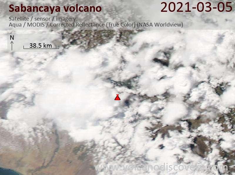 Satellite image of Sabancaya volcano on  5 Mar 2021