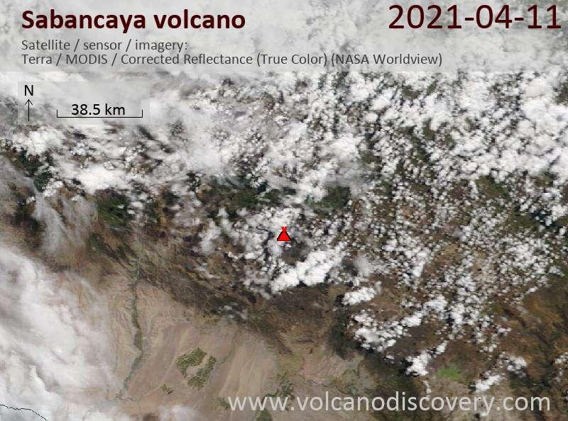 Спутниковое изображение вулкана Sabancaya 11 Apr 2021