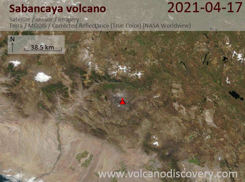 Satellite image of Sabancaya volcano on 18 Apr 2021