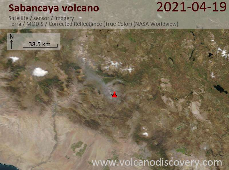 Satellite image of Sabancaya volcano on 20 Apr 2021