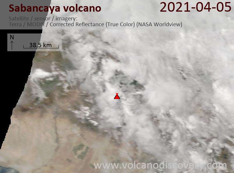 Satellite image of Sabancaya volcano on  5 Apr 2021