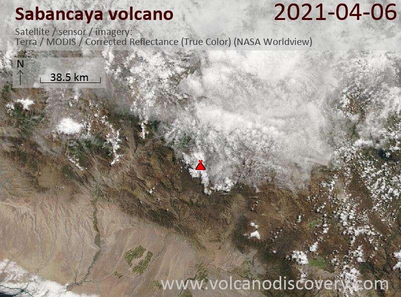 Satellitenbild des Sabancaya Vulkans am  6 Apr 2021
