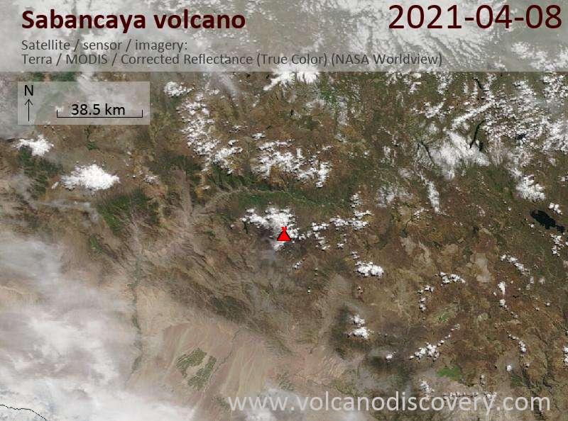 Satellite image of Sabancaya volcano on  8 Apr 2021