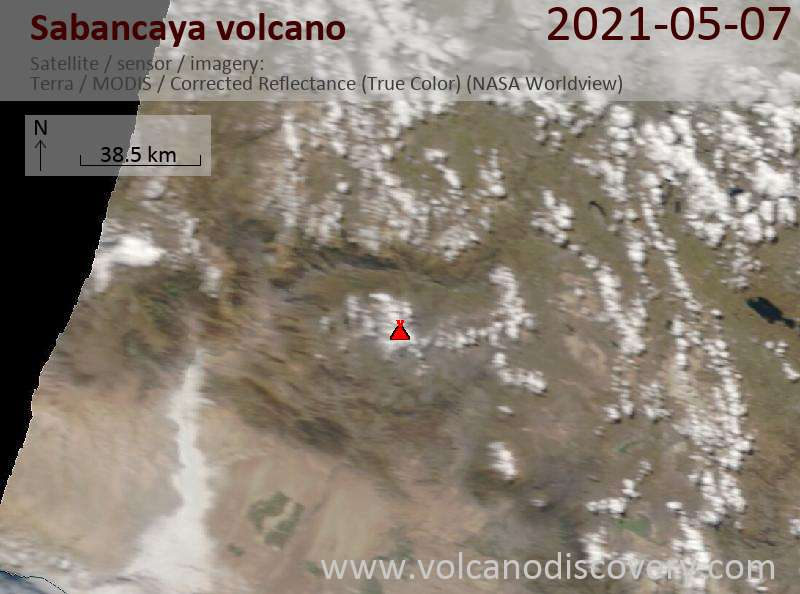 Satellite image of Sabancaya volcano on  8 May 2021