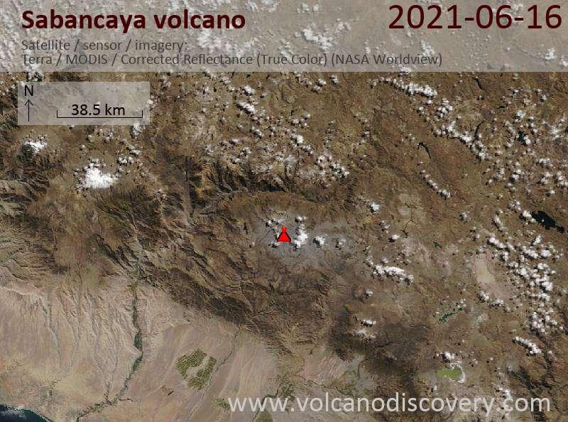 Satellite image of Sabancaya volcano on 17 Jun 2021