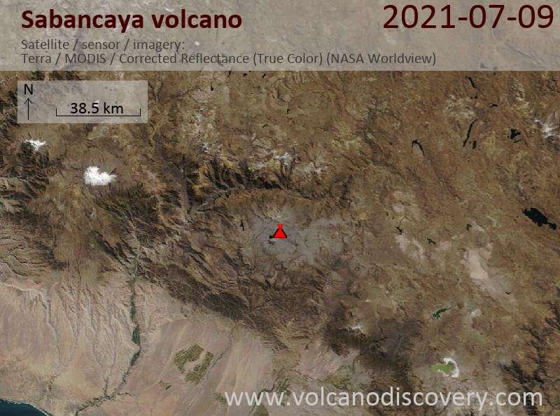 Спутниковое изображение вулкана Sabancaya 10 Jul 2021