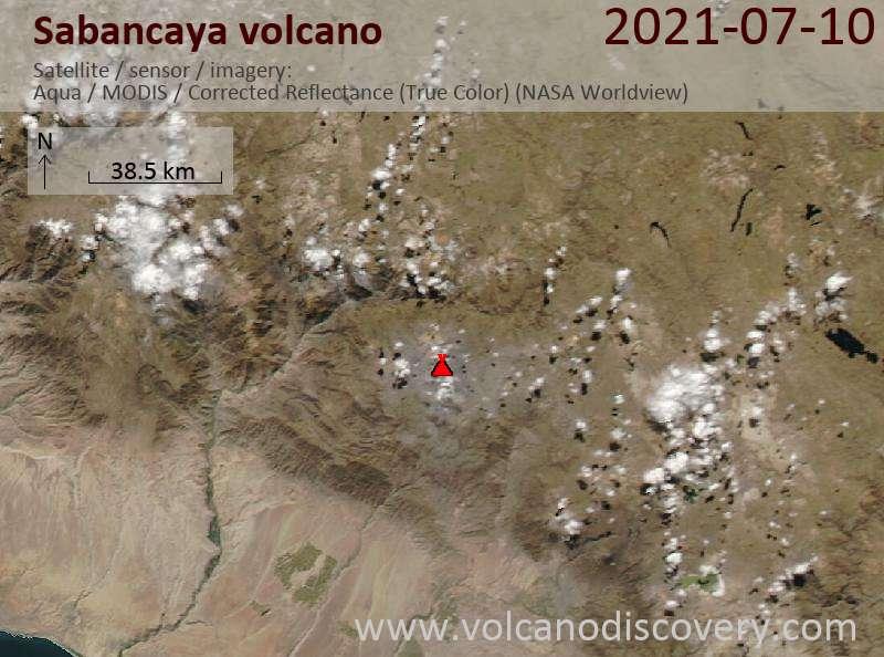 Спутниковое изображение вулкана Sabancaya 11 Jul 2021