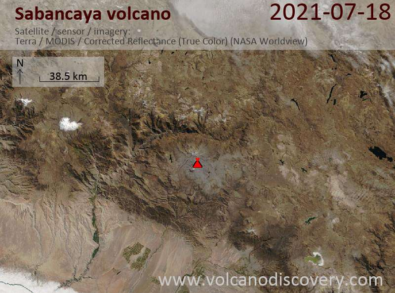 Satellitenbild des Sabancaya Vulkans am 19 Jul 2021