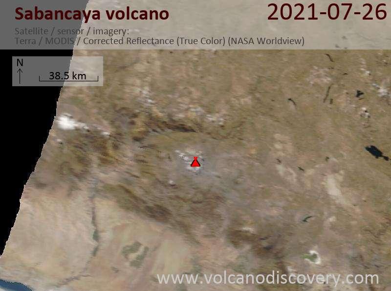 Satellite image of Sabancaya volcano on 27 Jul 2021