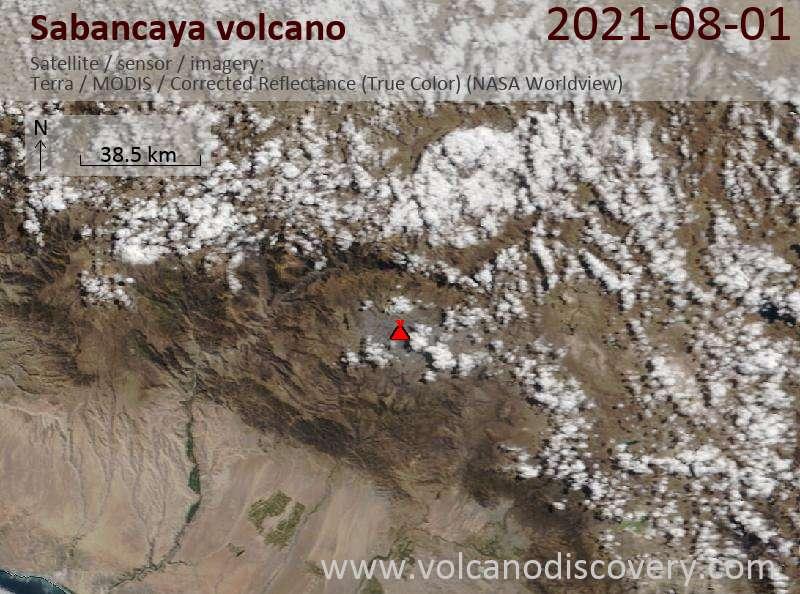Satellite image of Sabancaya volcano on  1 Aug 2021