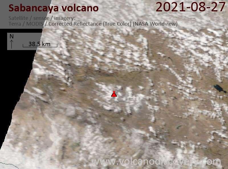 Satellite image of Sabancaya volcano on 28 Aug 2021