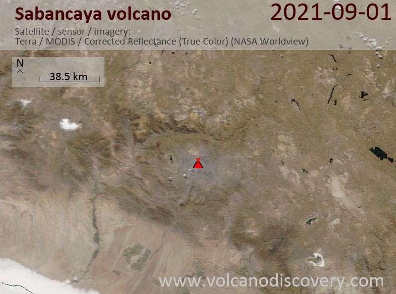 Satellite image of Sabancaya volcano on  1 Sep 2021