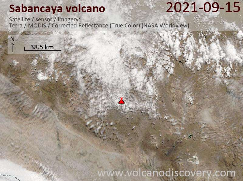 Satellite image of Sabancaya volcano on 16 Sep 2021