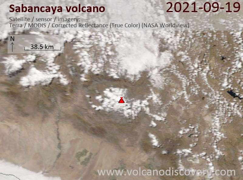 Спутниковое изображение вулкана Sabancaya 20 Sep 2021