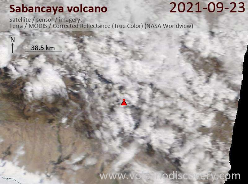 Satellitenbild des Sabancaya Vulkans am 24 Sep 2021