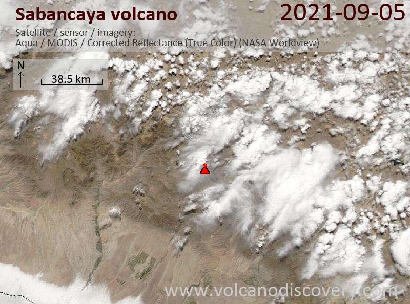 Satellite image of Sabancaya volcano on  6 Sep 2021