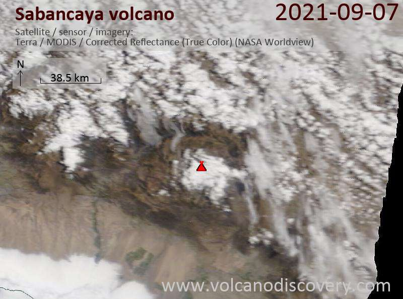 Satellite image of Sabancaya volcano on  7 Sep 2021