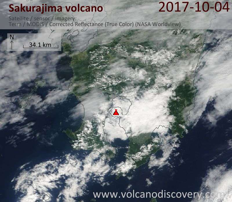 Satellite image of Sakurajima volcano on  4 Oct 2017