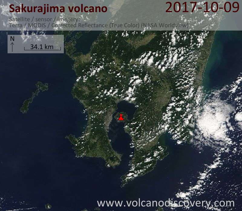 Satellite image of Sakurajima volcano on  9 Oct 2017