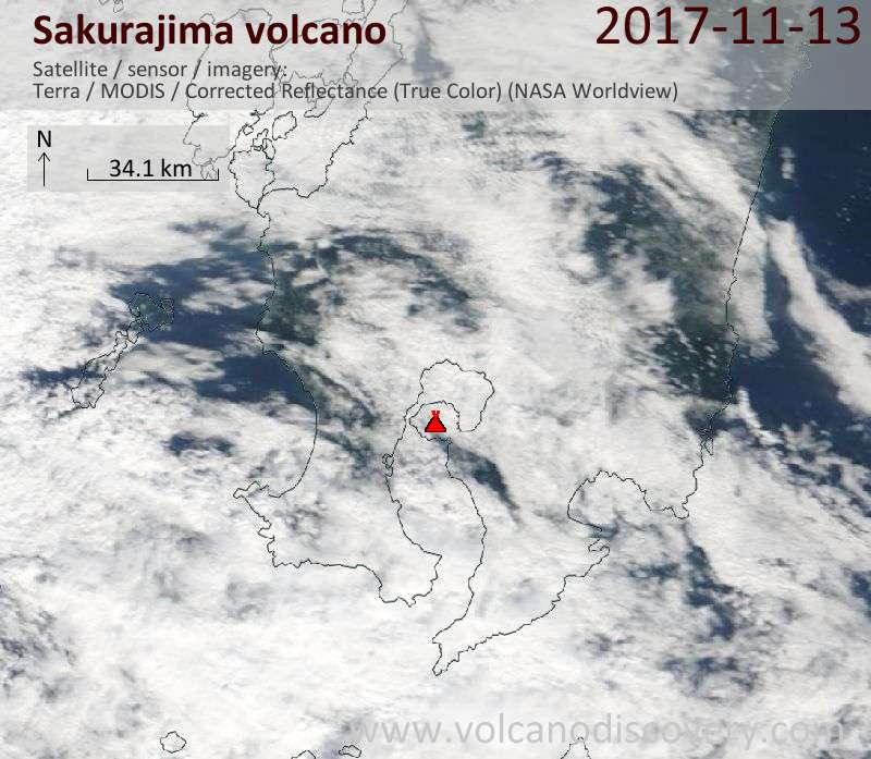 Satellite image of Sakurajima volcano on 14 Nov 2017