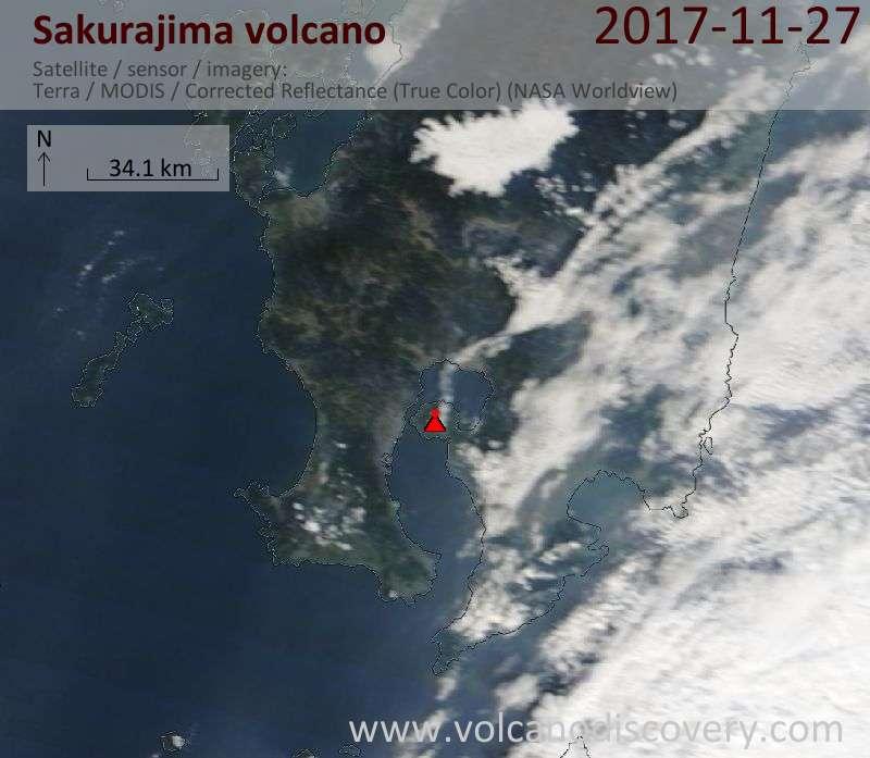 Satellite image of Sakurajima volcano on 27 Nov 2017