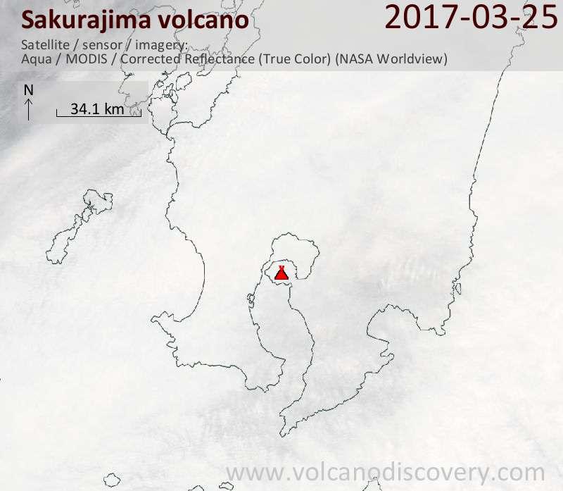 Satellite image of Sakurajima volcano on 25 Mar 2017