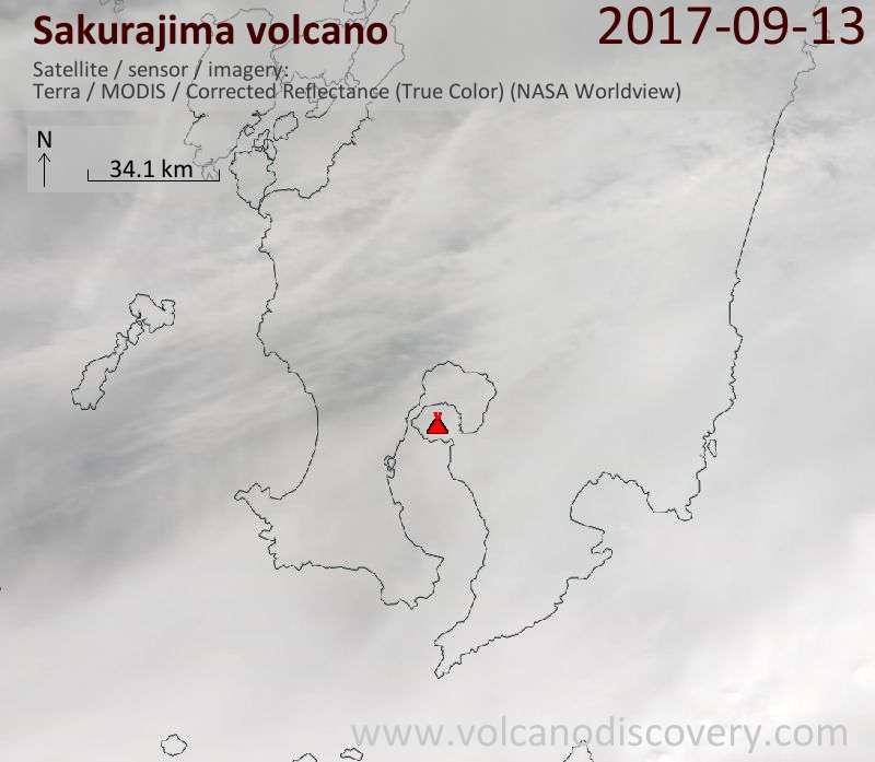 Satellite image of Sakurajima volcano on 13 Sep 2017
