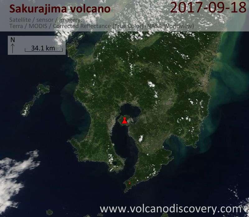 Satellite image of Sakurajima volcano on 18 Sep 2017
