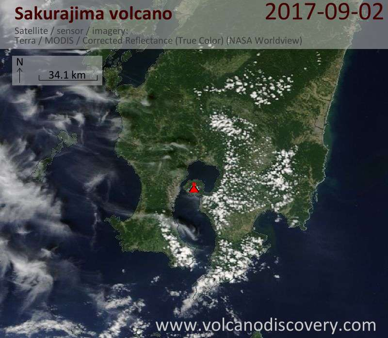 Satellite image of Sakurajima volcano on  2 Sep 2017