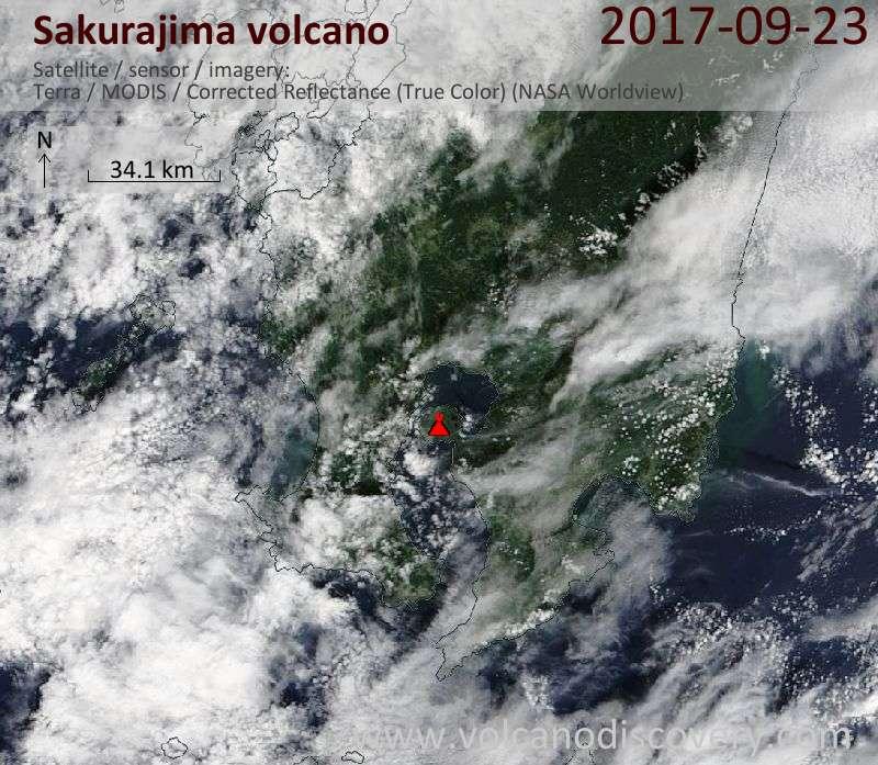 Satellite image of Sakurajima volcano on 23 Sep 2017