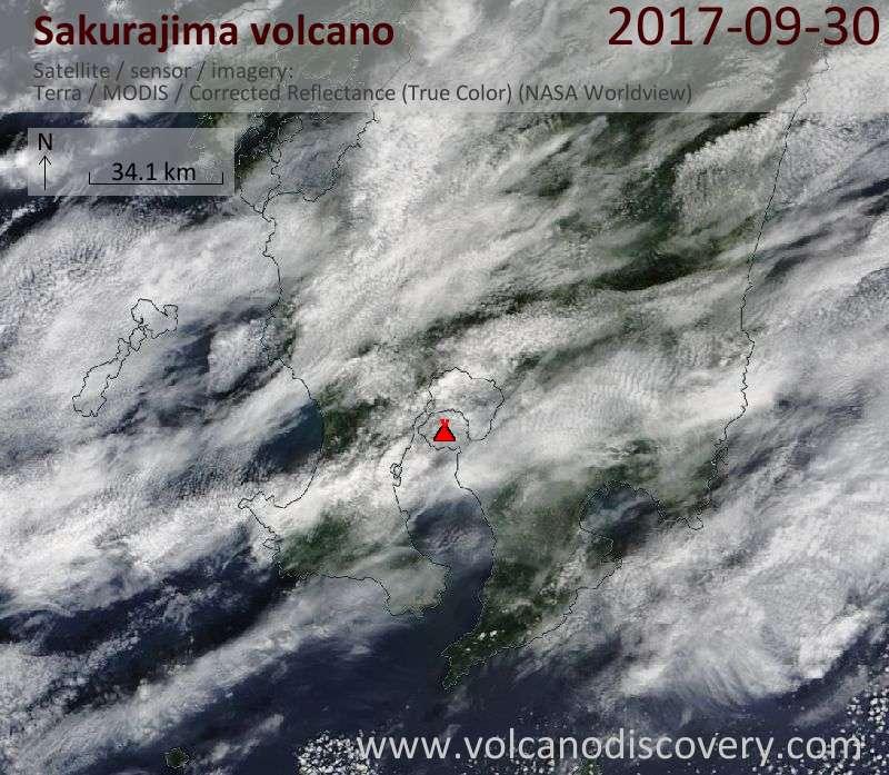 Satellite image of Sakurajima volcano on 30 Sep 2017