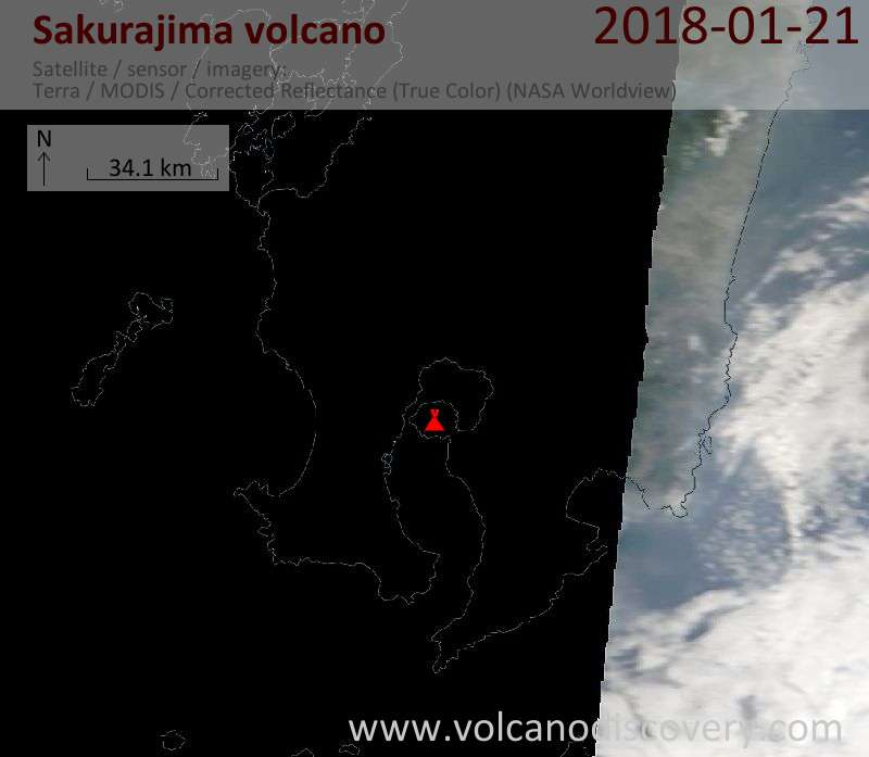 Satellite image of Sakurajima volcano on 21 Jan 2018