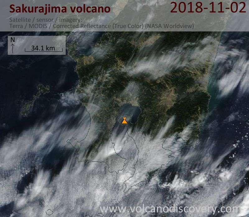 Satellite image of Sakurajima volcano on  2 Nov 2018