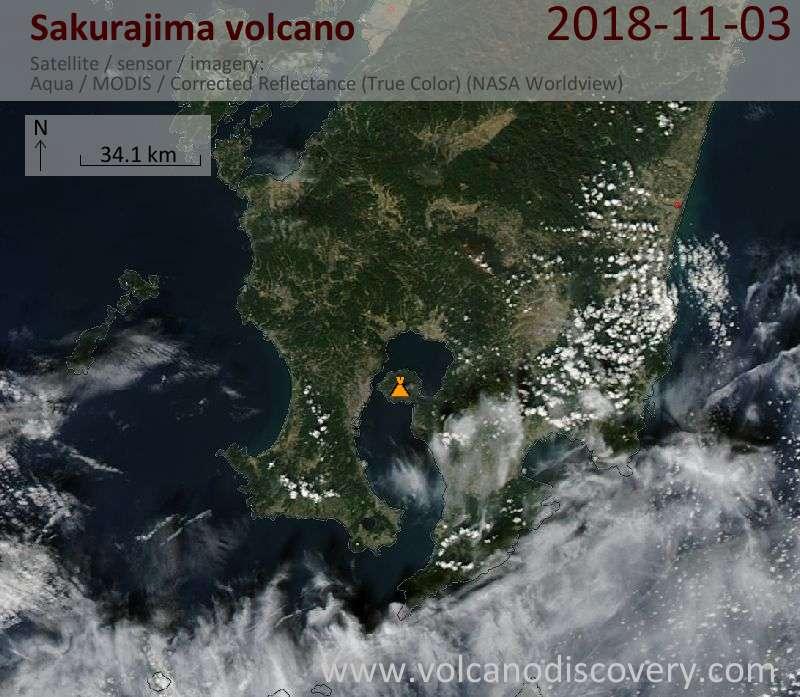 Satellite image of Sakurajima volcano on  3 Nov 2018