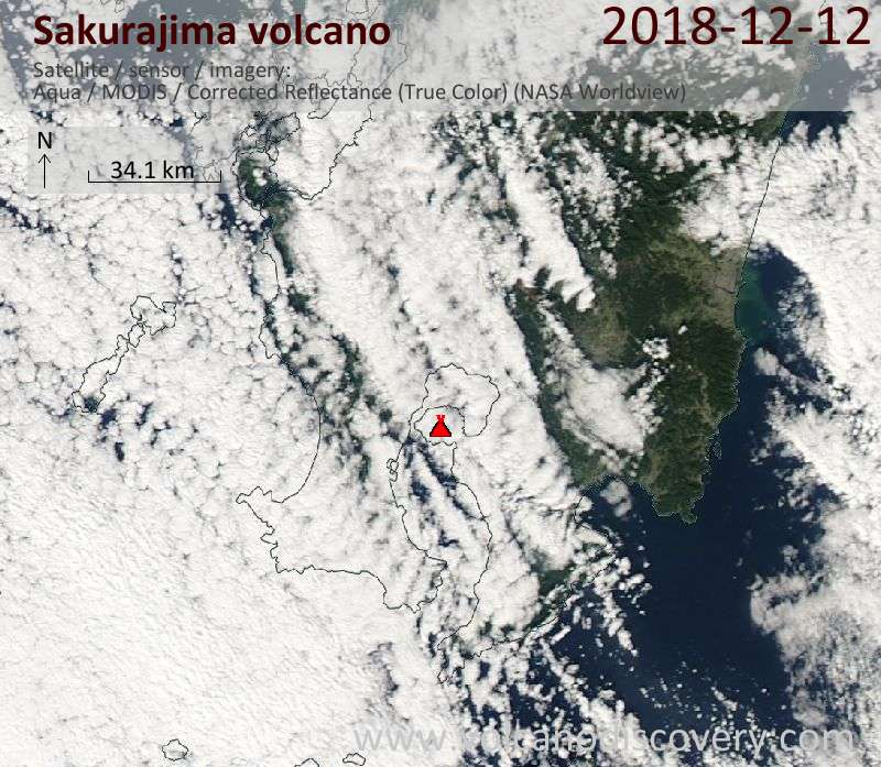 Satellite image of Sakurajima volcano on 12 Dec 2018