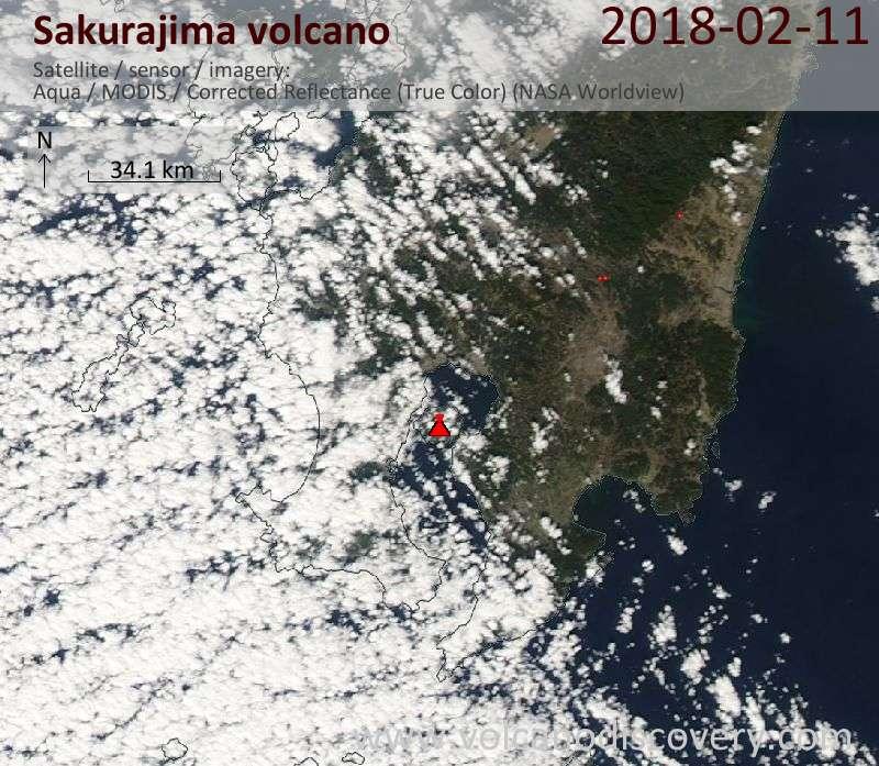 Satellite image of Sakurajima volcano on 11 Feb 2018