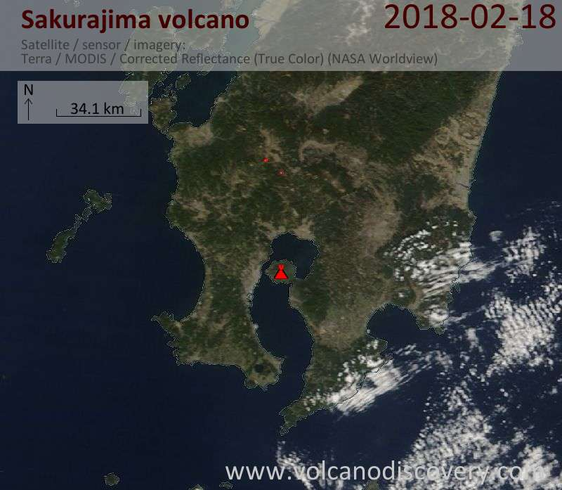 Satellite image of Sakurajima volcano on 18 Feb 2018