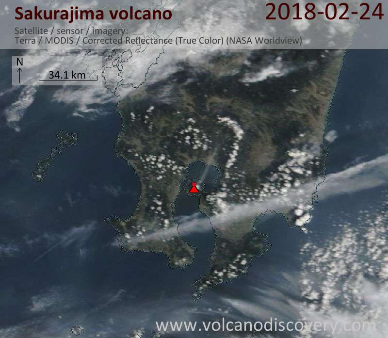Satellite image of Sakurajima volcano on 24 Feb 2018
