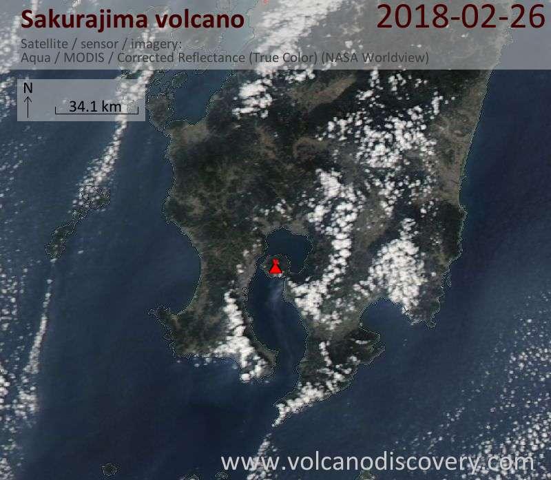 Satellite image of Sakurajima volcano on 26 Feb 2018