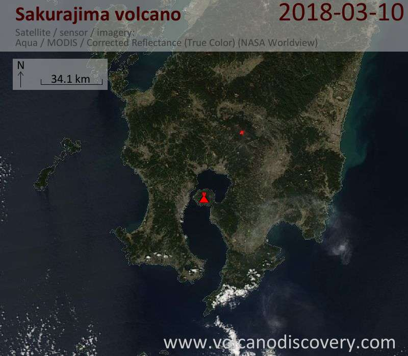 Satellite image of Sakurajima volcano on 10 Mar 2018